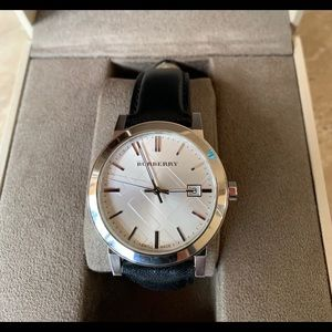 Burberry mens Watch sapphire crystal leather band